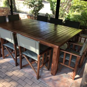 Ten Seater outdoor table with director's chairs