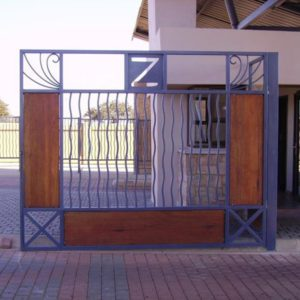 wood and steel driveway gate
